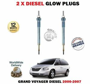 FOR CHRYSLER GRAND VOYAGER 2000-2007 NEW 2 X DIESEL GLOW PLUGS EO QUALITY
