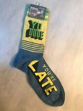 "Blue Q Men's crew socks NWT s/7-12. ""YO DUDE You're LATE"""