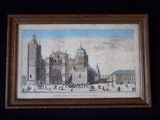 Ancienne vue optique XVIII eglise Tolède Antique church engraving painted spain