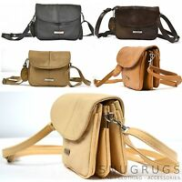 LADIES REAL LEATHER CROSS BODY BAG/ LIGHTWEIGHT PURSE ORGANISER PRACTICAL BAG