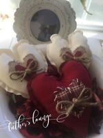 New Primitive Bowl Fillers Country Rustic Farmhouse Decor Hearts Love
