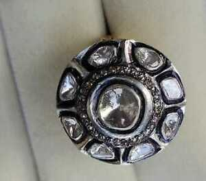 Natural  Victorian UN Cut Diamond Silver Ring 925 Sterling Silver Ring