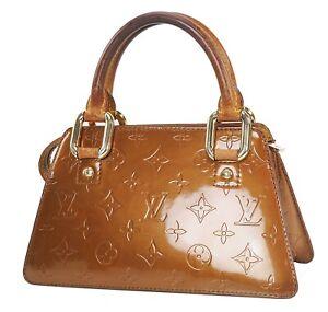 Authentic LOUIS VUITTON Forsyth Mini Bronze Vernis Leather Hand Bag Purse #40332