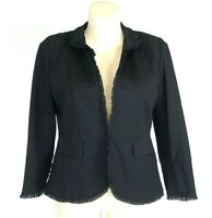 Chicos Jacket Blazer 2 P Black Ruffle Trim Pocket Lined Stretch Washable L XL