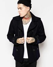 Diesel W-Champ Pea Coat Wool Double Breasted Navy Blue