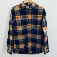 Mens J Crew Cotton Flannel Long Sleeve Shirt Orange Blue Plaid Medium M