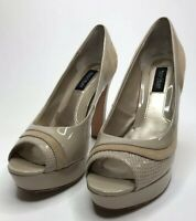 "WHITE HOUSE BLACK MARKET 3.5"" High HEELS Size 7M Tan Suede Beige Leather EUC"