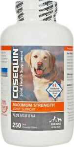 Cosequin Maximum Strength Plus MSM for Dogs All Sizes (250 Count) NEW 07/2025