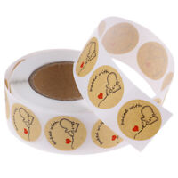 500pcs/roll Round Natural Kraft Baked with Love Sticker for seal labels stic md