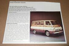 ★★1967 DODGE CUSTOM SPORTSMAN WAGON VAN ORIGINAL DEALER ADVERTISEMENT AD 67