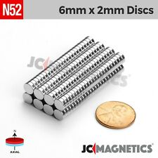"6mm x 2mm 1/4"" x 5/64"" N52 Strong Disc Rare Earth Neodymium Magnet Fridge Crafts"