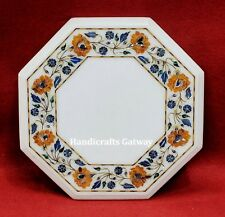 Beautiful White Marble Inlay Center Table Top, Table Top For Home & Restaurant