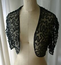 Vintage Black Net Sequined Bolero Top 50s