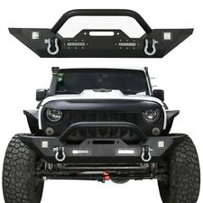 Off-road Mid Front Bumper w/ D-Ring & Winch Plate for Jeep Wrangler JK 2007-2018