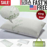 Premium Firm Hypoallergenic Bamboo Fiber 45D Memory Foam Pillow Bed King Size US
