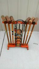 "Vintage ""South Bend Toy"" 6 Player Wooden Croquet Set (missing one ball)"