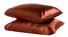 """KING-TWO SOFT """"SILK~Y"""" SATIN / SATEEN PILLOW CASE / COVER-COPPER BROWN (1 PAIR)"""