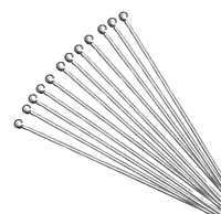 100 Kettelstifte Nietstifte mit rundem Kopf 50mm SILBER Kopfstifte Messing M131