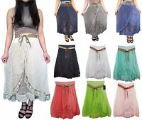 Womens Ladies Layered Tiered Frilled Lace Gypsy Long Maxi Skirt  Summer 8/14