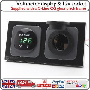 C-Line Black Frame w/ 12v Socket Green LED Voltmeter Display Motorhome Campervan