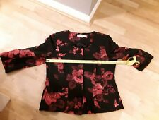 Refc47)cc country casuals petite 10 floral jacket black. pink flower. Part silk