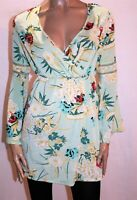 PrettyLittleThing Brand Green Floral Print Long Bell Sleeve Dress Size 8 #AN02