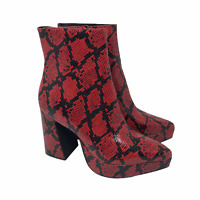 Jeffrey Campbell Size 8 Dormant Snakeskin Print Booties Boots Block Heel Red