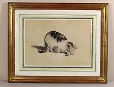 C1790s | Gottfried Mind | Gatto con gattini | dipinto originale acquerello di fine