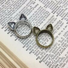 Cat Lady Cat Ears Antique Bronze or Silver Cat Ring