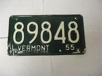 1955 55 Vermont VT License Plate 89848 Pair