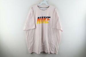 Vtg Nike Mens 4XL Spell Out Block Letter Sunset Distressed T-Shirt Light Pink