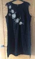 H&M Ladies Dress, Size 14-16, Used Once Black Linen Floral Appliqué Side Slits
