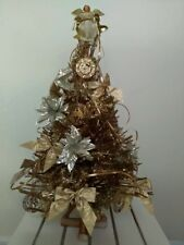 Tabletop Decorated Xmas Tree, Gold Bows, 12 Days Of Xmas Orn. Angel Topper 28""
