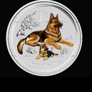 2018 Year of the Dog Colorized  1/2 oz,.9999 Silver  $.50 Australia BU *CAPSULE*