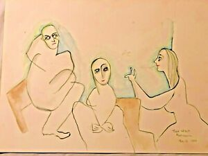 """BEATRICE WOOD  """"Talk About Business""""  Signed Beato 1990 Original Unframed BEATO"""