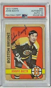 JOHNNY BUCYK Signed 1972 Topps Bruins PSA 10 AUTO