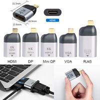 USB Type C to HDMI/DP/Mini DP/VGA/RJ45 Adapter Male to Female Phone Converter