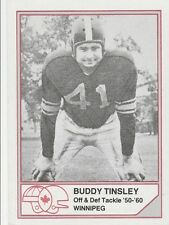 CFL HALL OF FAME BUDDY TINSLEY WINNIPEG BLUE BOMBERS #B-25  LIMITED EDITION CARD