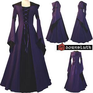 Mittelalter Gothic Karneval Gewand Kleid Kostüm Josephine Lila-Schwarz XS-60