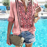 Women's Beach Floral Blouse Sexy V Neck Tops Summer Short Sleeve Boho Shirts 520