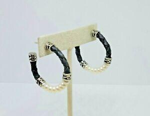 """Honora Sterling Silver Black Leather 5mm Pearl Hoop Earrings ~ 1 1/4"""""""