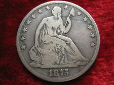 1875-P Seated Liberty Silver Half Dollar, BETTER GRADE ORIGINAL BEAUTY!