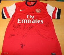 ARSENAL TEAM HAND SIGNED HOME JERSEY UNFRAMED + PHOTO PROOF & C.O.A