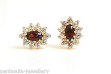 9ct Gold Garnet studs earrings Made in UK Gift Boxed