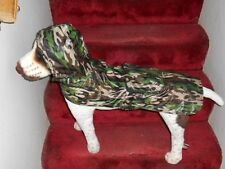 GREEN CAMO LOOK: DOG RAIN JACKET HOODIE (RAINY DAY POUCH) (Small to Large Pets)