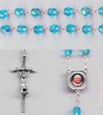 Pope Benedict XVI Resignation Rosary - Crystal Aqua