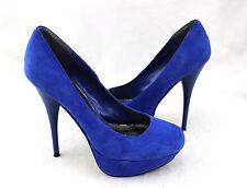 BAKERS Victoria Blue Suede Leather Platform Pumps Shoes Heels 7