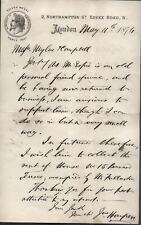 1874 LONDON, 2 NORTHAMPTON ST. ESSEX ROAD, FROM JAMES HARPER, QUALITY FURNITURE