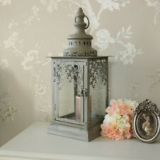 Grey Green Fretwork candle lantern shabby vintage chic wedding light home gift