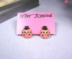 Betsey Johnson Coccinella Septempunctata Rhinestone Girl Gift Stud Earrings